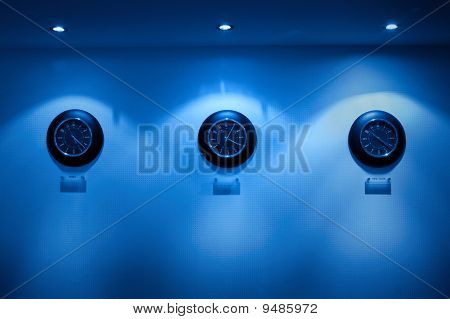 Row Of Clock On Hte Wall