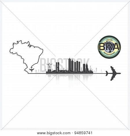 Brazil Skyline Buildings Silhouette Background