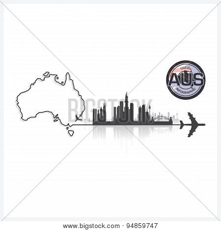 Commonwealth Of Australia Skyline Buildings Silhouette Background