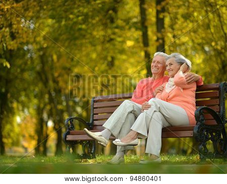 Happy elderly couple sitting on bench