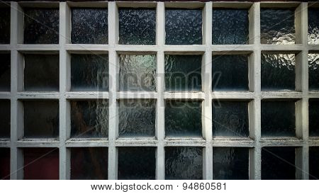 Old Wall From Square Wooden Frame And Glass