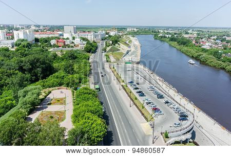 View on historical center of Tyumen. Russia