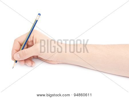 Male hand holding a pencil