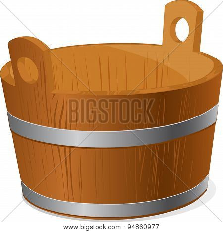 Wooden Bucket Isolated On White Background - Vector