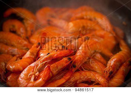 Spanish Fried Chilli Garlic Shrimp Tapas In Pan