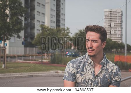 Young Handsome Man Posing In The Street