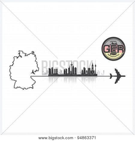 Germany Skyline Buildings Silhouette Background
