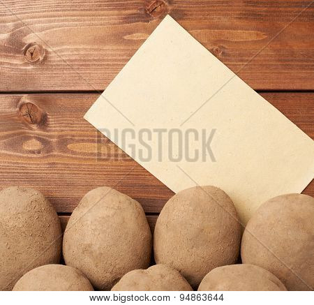 Pile of potatoes against piece of paper