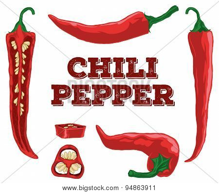 Chili Pepper Set.hand Drawn Chili.