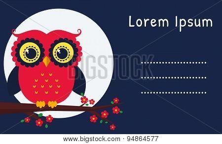Vector Card With Owl.