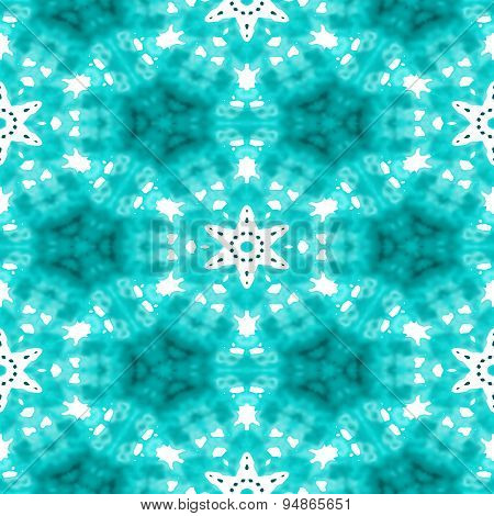 Abstract Seamless Blue Blurry Background With White Snowflakes