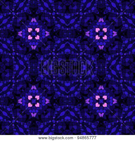 Seamless Kaleidoscopic Mosaic Dark Blue And Pink Tile Pattern