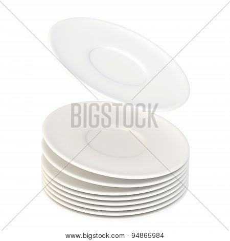Dynamic pile of ceramic plates isolated