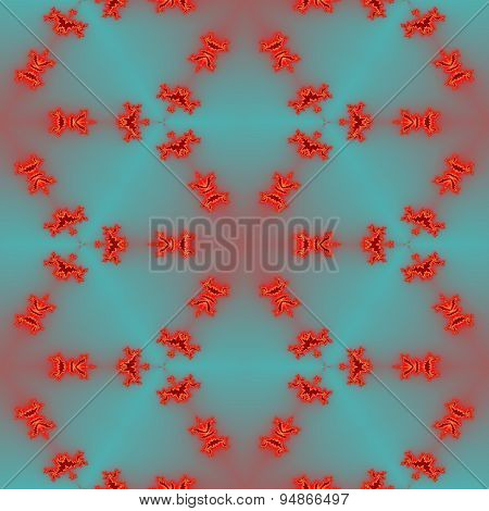 Seamless Abstract Red Fractal Pattern For Christmas Or Oriental Design On The Blue Blurry Background