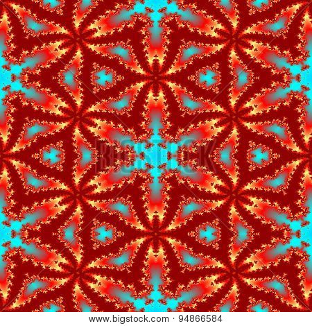 Seamless Abstract Red Star Fractal Pattern For Christmas Design