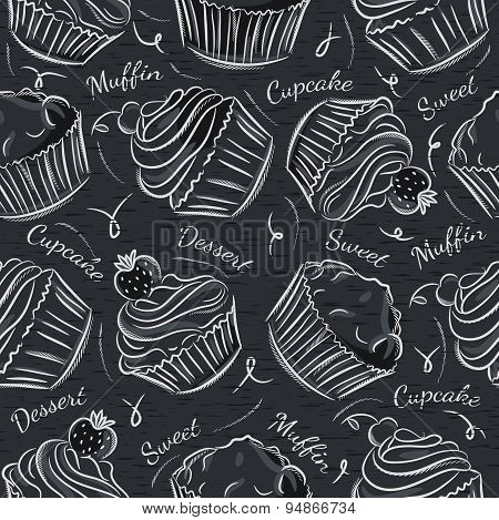 Black Blackboard With Cupcakes