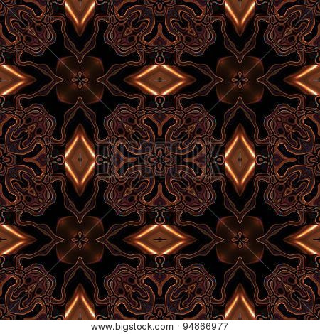 Abstract Viking Or Celtic Metallic Bronze Pattern Made Seamless