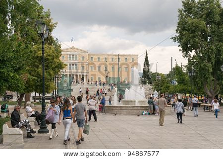 Athens, Greece - May 30, 2015: Every day life in Sintagma Athens with tourists and local people.