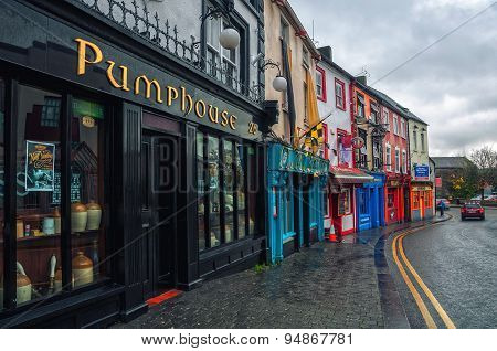 Row of different bars and pubs in Kilkenny