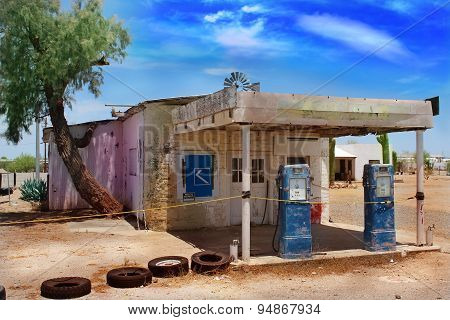 Old Abandoned Gas Station in Desert