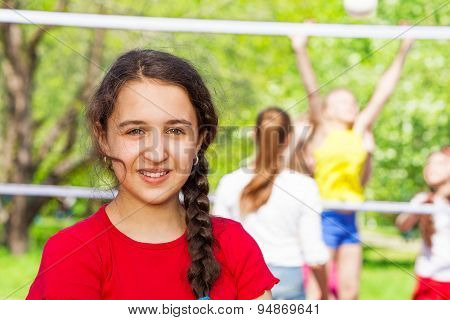 Middle Eastern teen girl during volleyball game