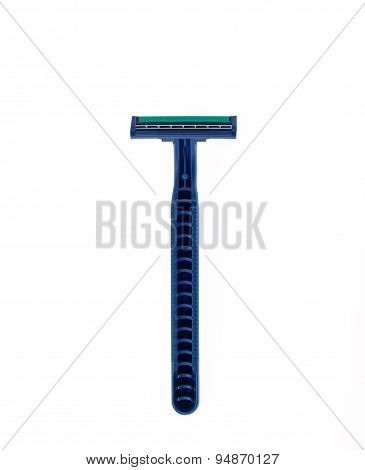 Close Up New Blue Shaver Isolated On White