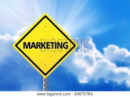 Yellow Road Sign With Text Marketing.