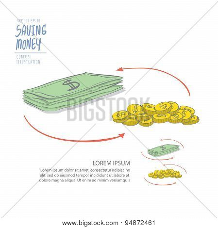 Circulating Money Of Coins And Dollar. Drawing Paint Flat Vector.