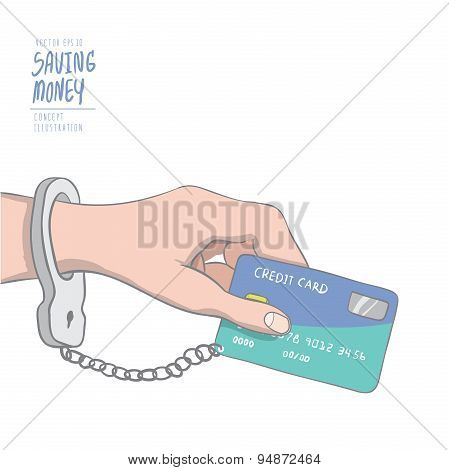 A Hand Handcuffed Tethered To A Credit Card. Drawing Paint Flat Vector.