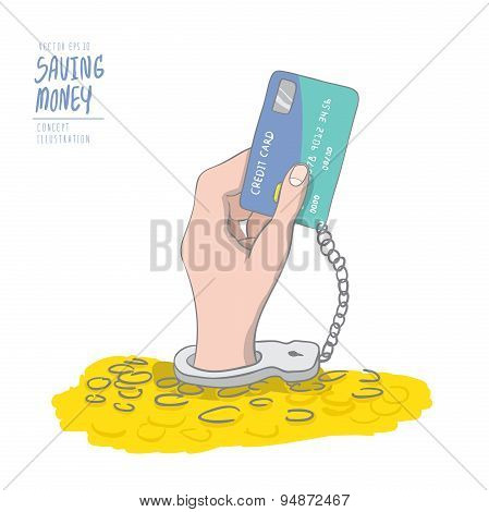 A Hand Handcuffed Tethered To A Credit Card Out Of Pile Coins. Drawing Paint Flat Vector.