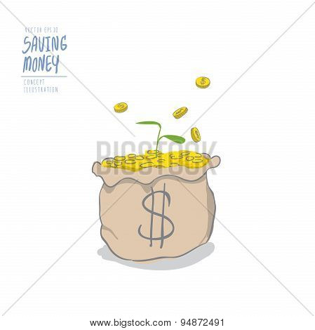 Young Plant On A Pile Of Coins In The Bag And Coins Falling To The Bag. Drawing Paint Flat Vector.