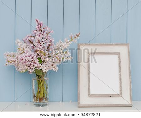 Vintage Picture Frame And Bunch Of Lilac