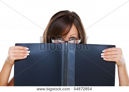Young Woman Staring At Documents