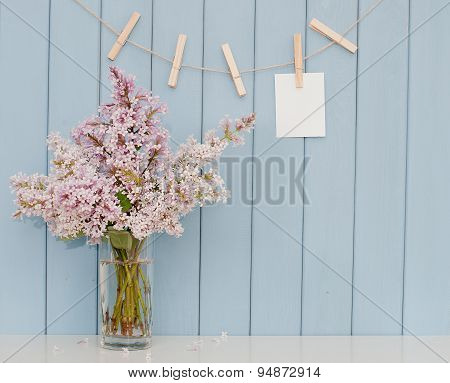 Note On The Clothespin And Bunch Of Lilac