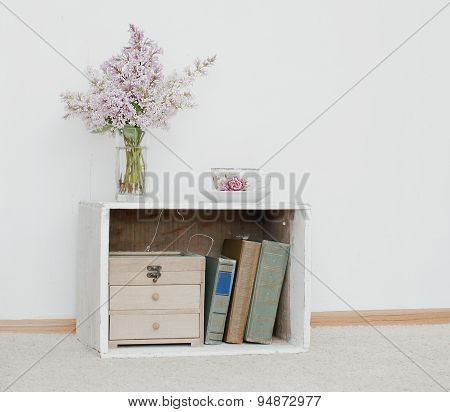 Lilac And Tea On Vintage Nightstand