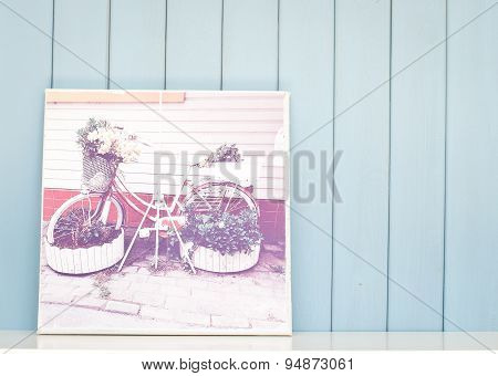 Vintage Inspiring Poster With Old Bicycle - Flowerbed