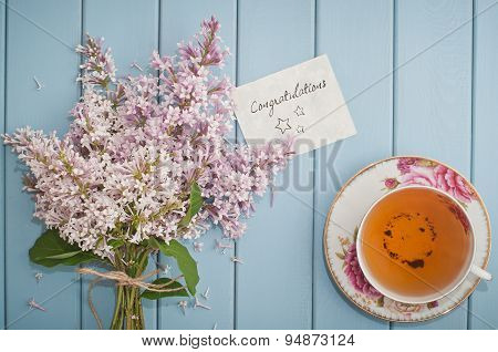 Congratulations Card In Summer Bouquet Of Gentle Blooming Lilac  And Tea