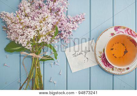 Card, English Black Tea And Blooming Lilac