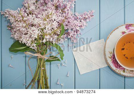 Blank Card, English Black Tea And Blooming Lilac