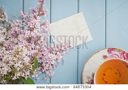 Summer Bouquet Of Gentle Blooming Lilac With Card And Tea