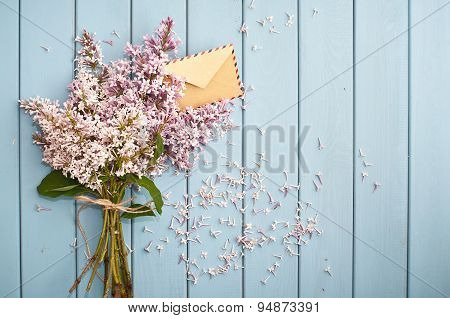 Vintage Postage Envelope In Blooming Gentle Bouquet
