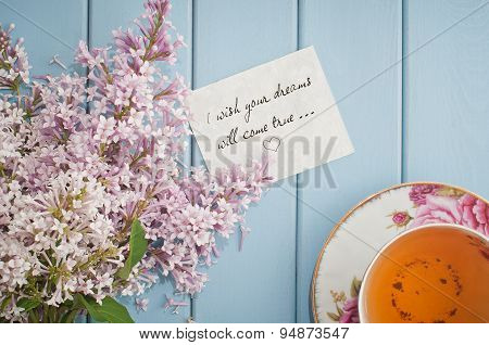 Motivational Card In Summer Bouquet Of Gentle Blooming Lilac  And Tea