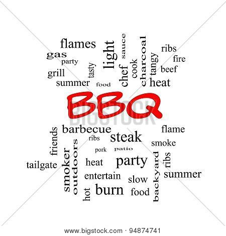 Bbq Word Cloud In Red Caps