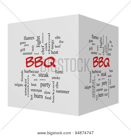 Bbq 3D Cube Word Cloud In Red Caps
