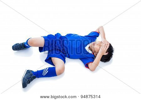Youth Asian Soccer Player With Painful. Isolated On White. Full Body.