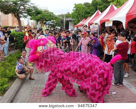 Performing A Chinese Lion Dance
