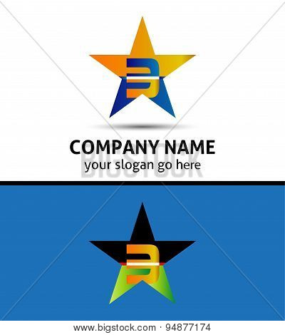 Abstract Number 3 logo Symbol with star icon