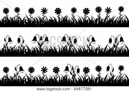 Set seamless silhouette grass and flowers.