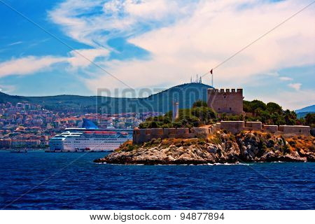 A Digital Painting Of Pigeon Island Kusadasi Turkey
