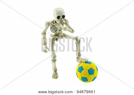Skeleton With Soccer Ball Isolated On White Concept Of Football Never Die.